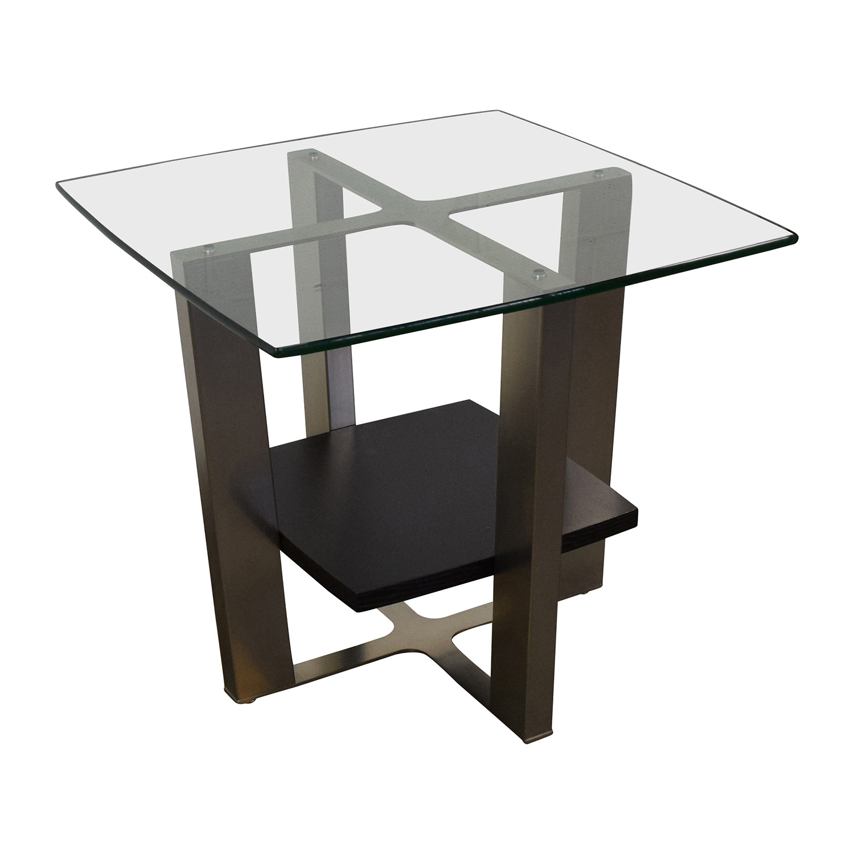 off  jensen lewis jensen lewis glass top and chrome end table  -  jensen lewis jensen lewis glass top and chrome end table second hand