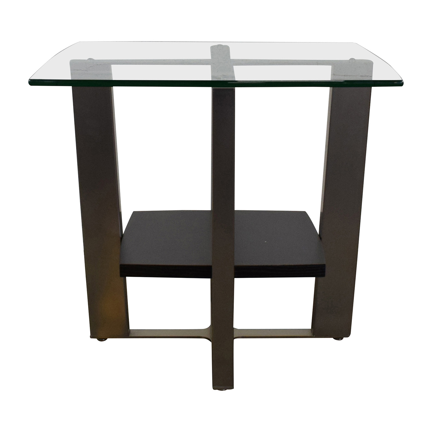 Jensen Lewis Glass Top and Chrome End Table sale