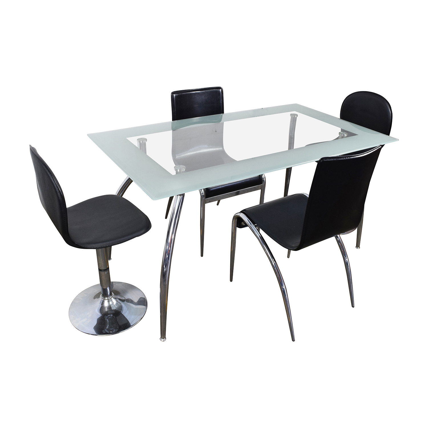 buy The Door Store Rectangular Glass Table with Four Leather Chairs The door store Tables