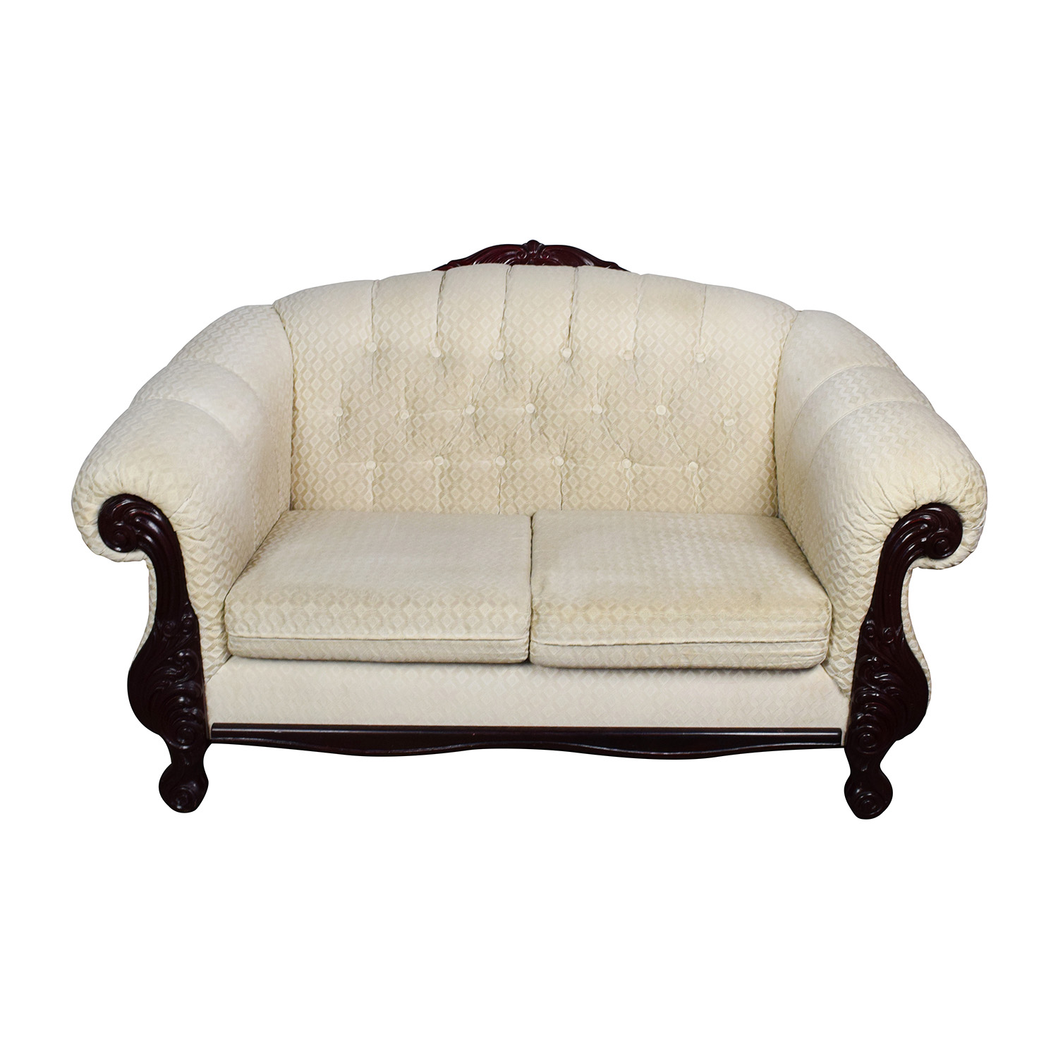 Beige Love Seat with Carved Mahogany Wood Base Sofas