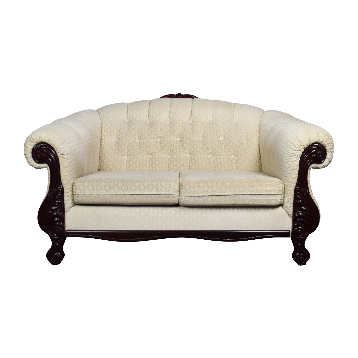 Beige Love Seat with Carved Mahogany Wood Base on sale