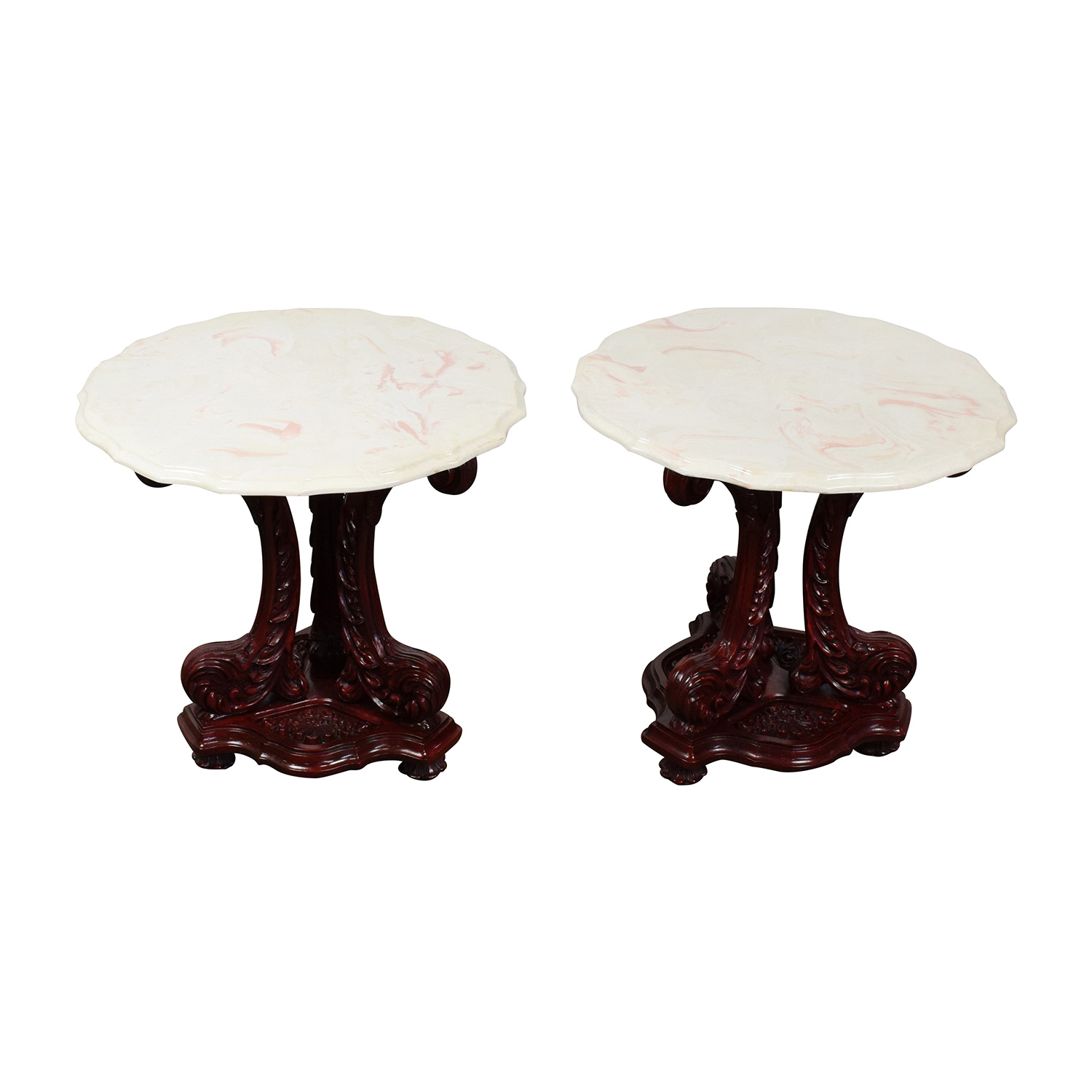 Marble Top End Tables with Burgundy Wood Base nj
