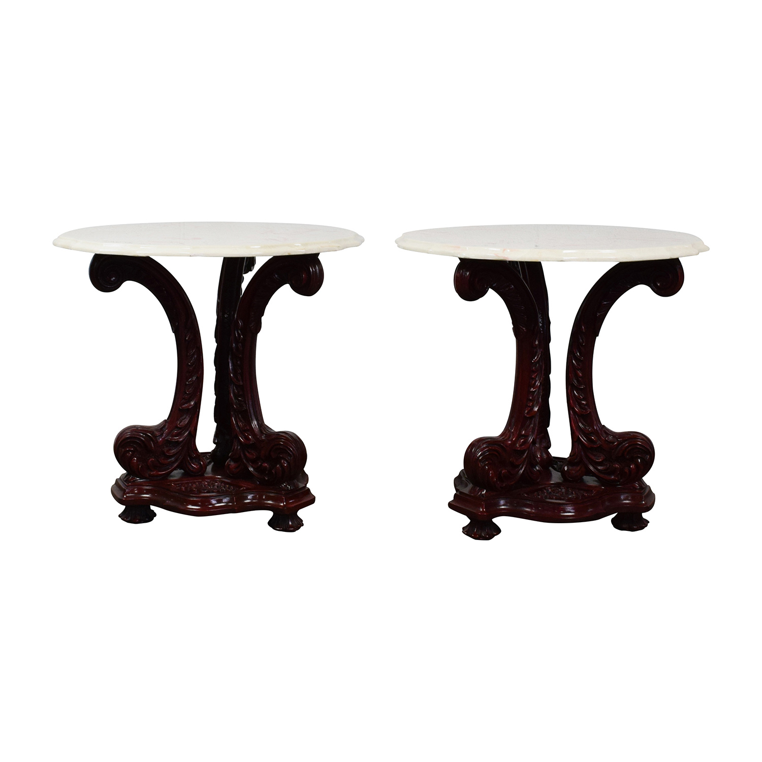 Marble Top End Tables with Burgundy Wood Base