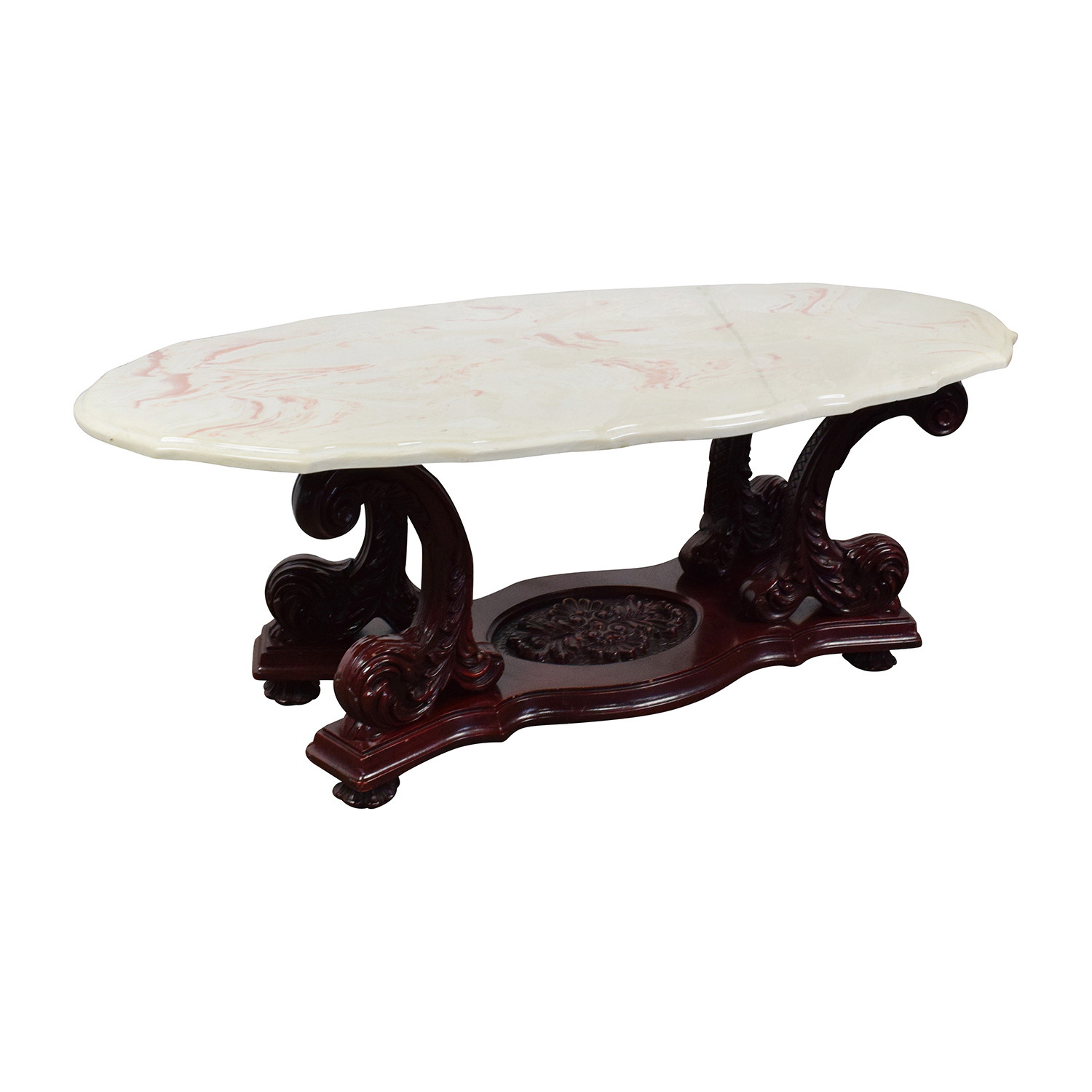 OFF Marble Top Coffee Table with Burgundy Carved Wood Tables