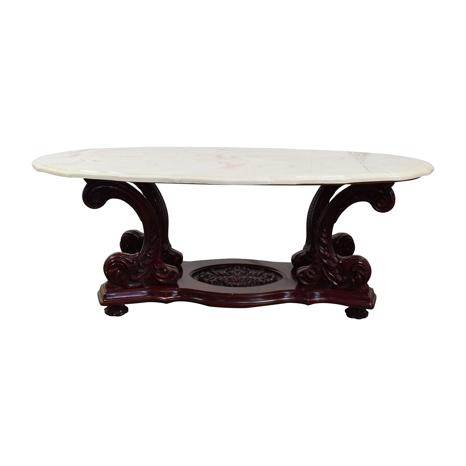 buy Marble Top Coffee Table with Burgundy Carved Wood online