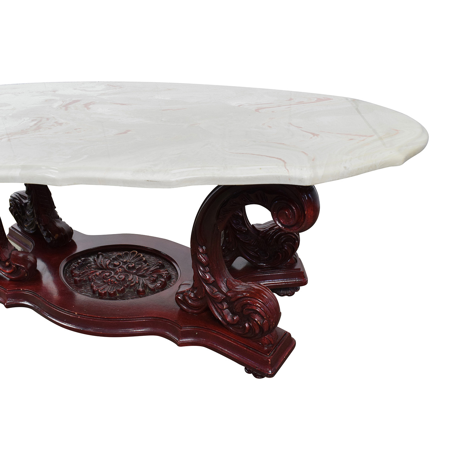 Buy Online Marble Top Coffee Table: Marble Top Coffee Table With Burgundy Carved