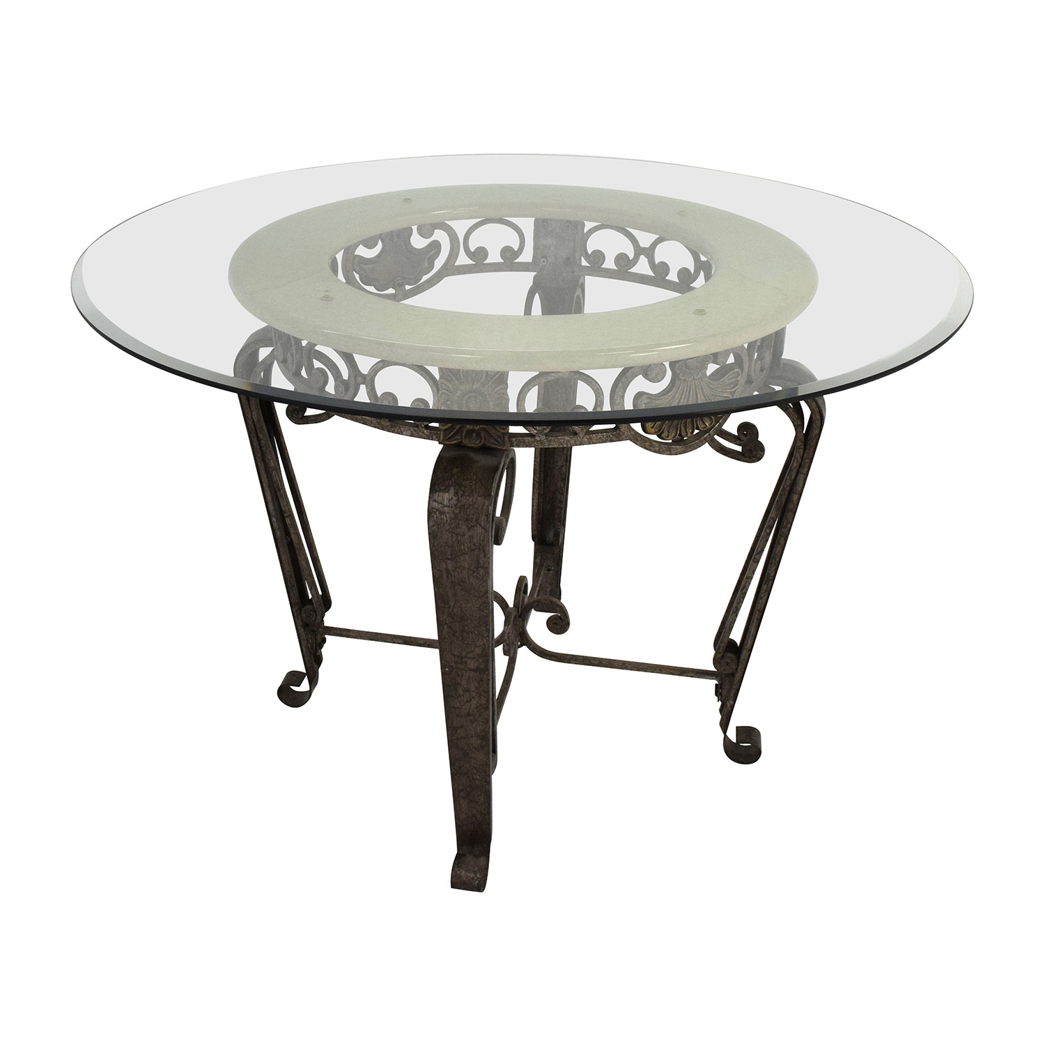 84 off scroll metal and glass top dining table tables for Glass top dining table sets