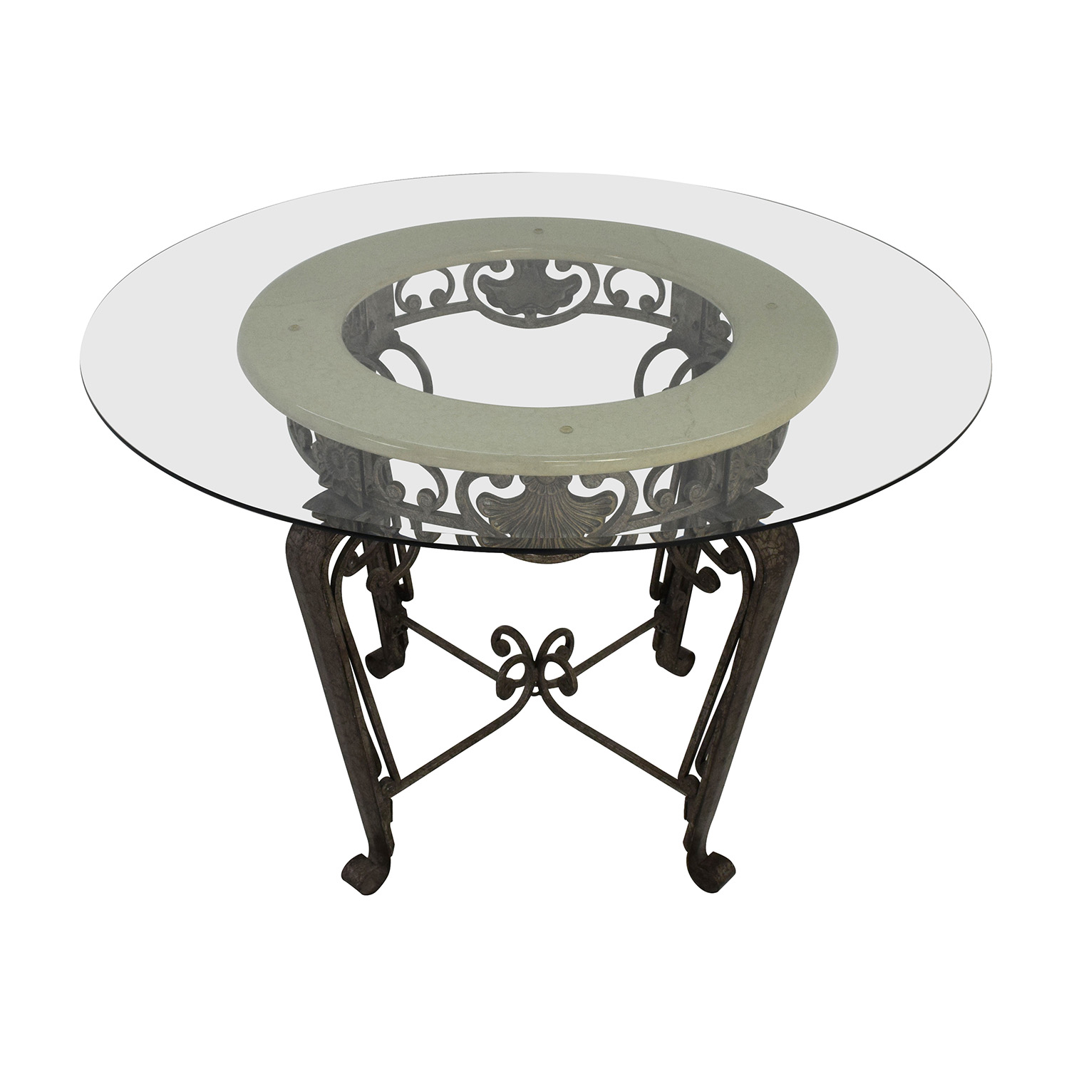Scroll Metal and Glass Top Dining Table / Dining Sets