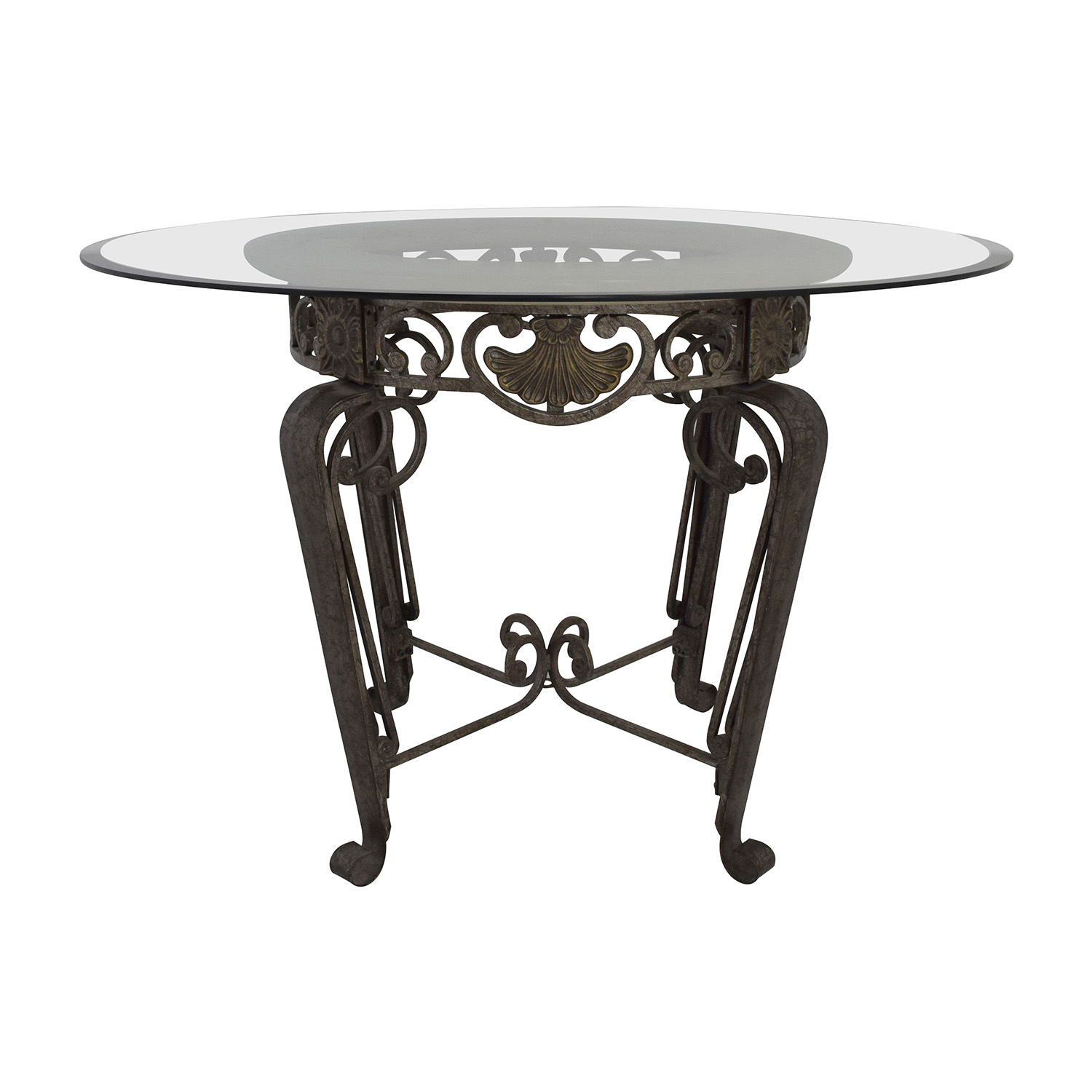84 off scroll metal and glass top dining table tables for Best dining table set