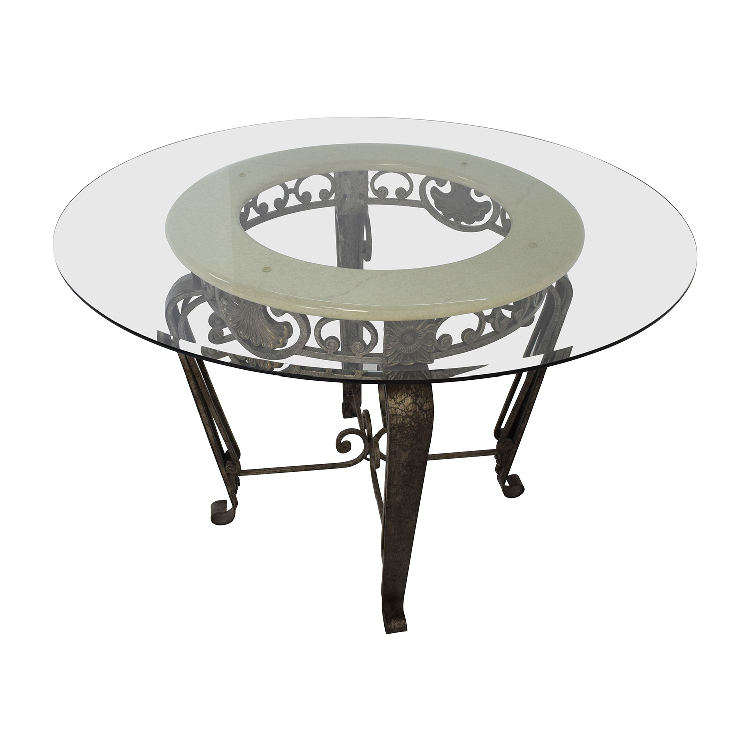 84 Off Scroll Metal And Glass Top Dining Table Tables