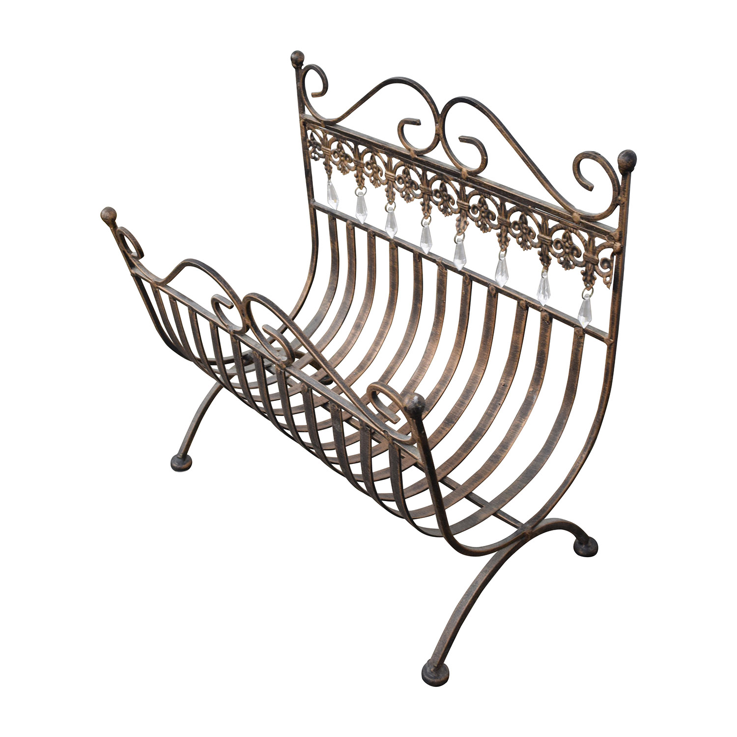 Vintage Rustic Brass Magazine Rack sale