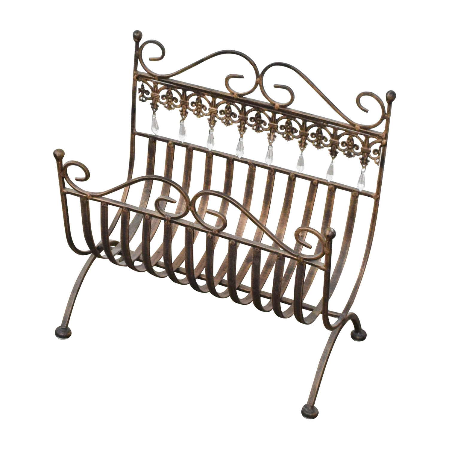 shop Vintage Rustic Brass Magazine Rack Etsy