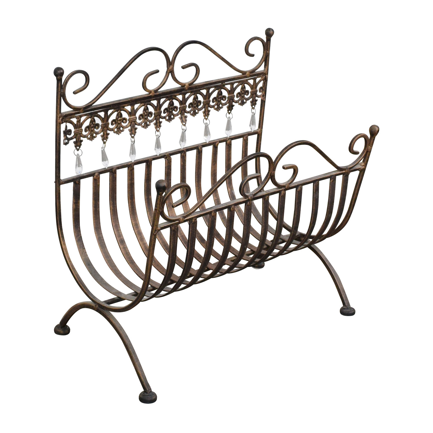 Etsy Vintage Rustic Brass Magazine Rack dimensions