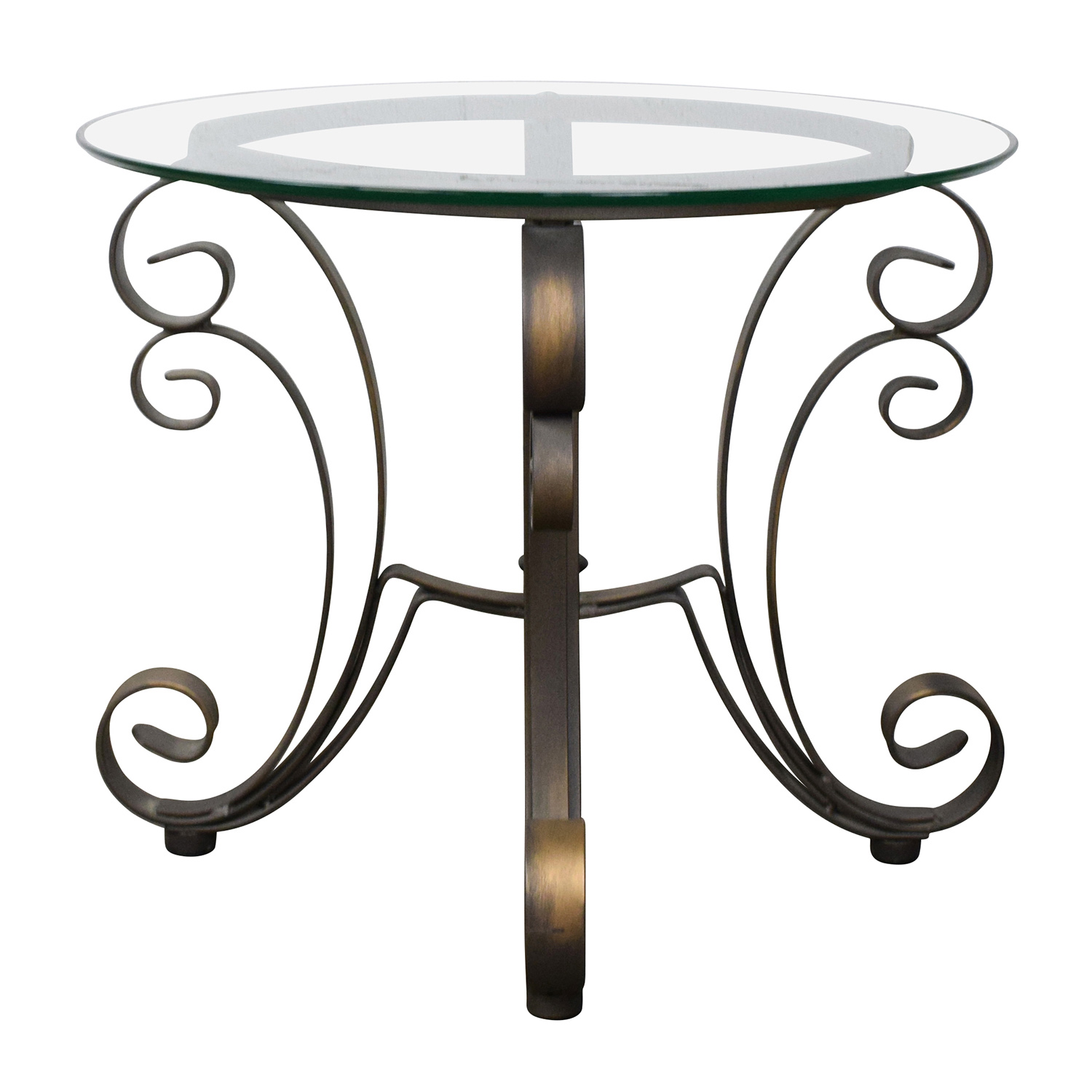 Rooms To Go Rooms To Go Glass Top Side Table with Bronze Base nj