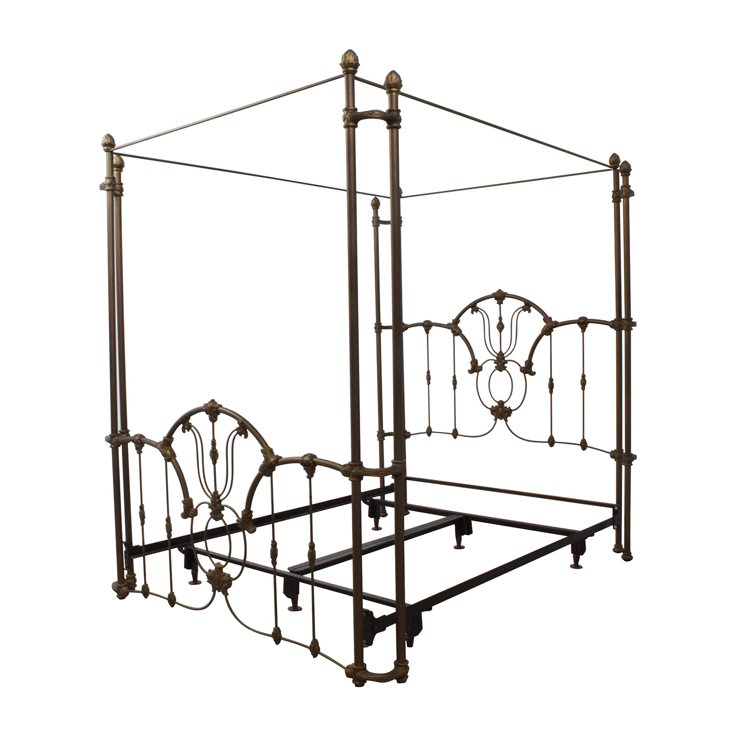 60 off bronze metal canopy queen bed frame beds for Brass canopy bed frame