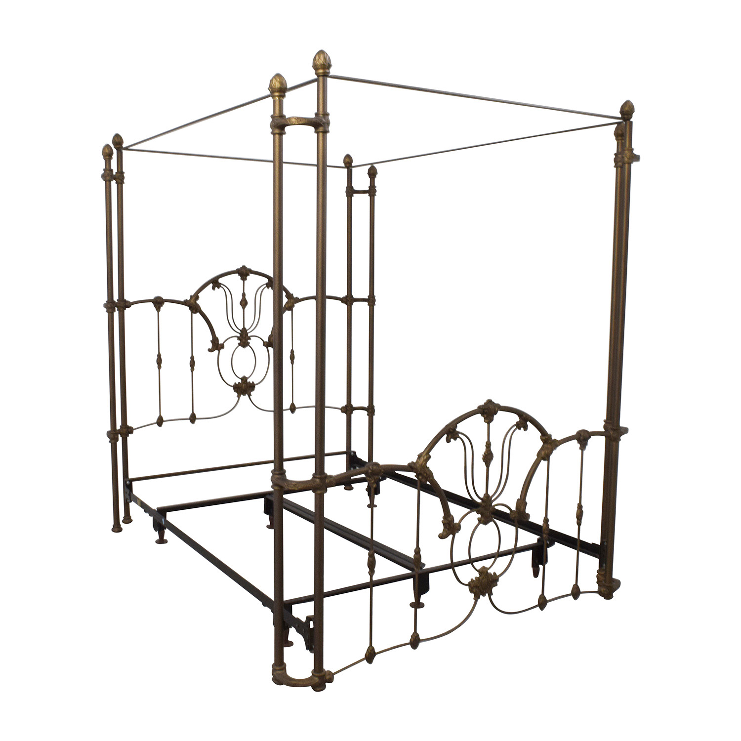 60 off bronze metal canopy queen bed frame beds. Black Bedroom Furniture Sets. Home Design Ideas