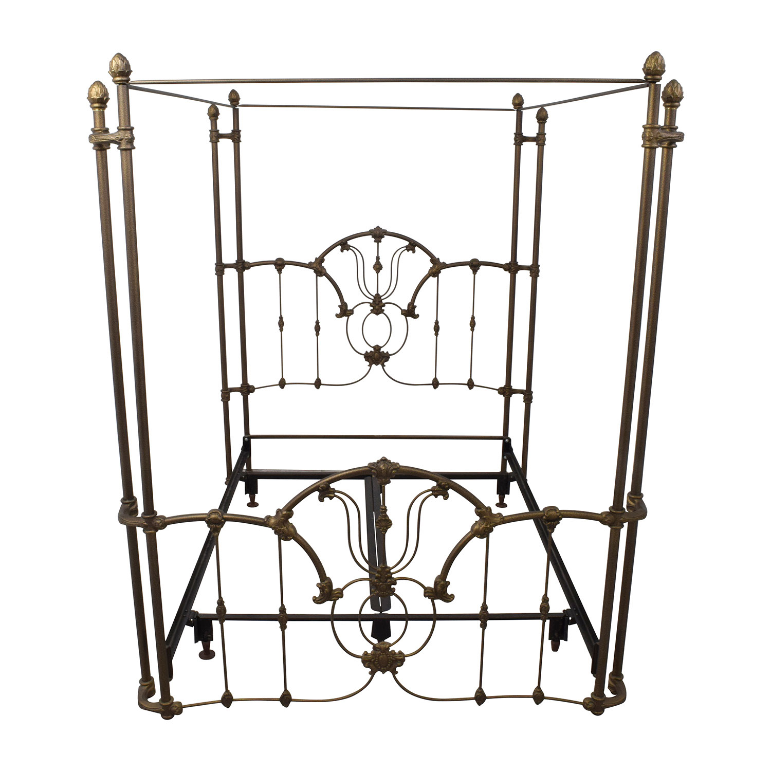Bronze Metal Canopy Queen Bed Frame used