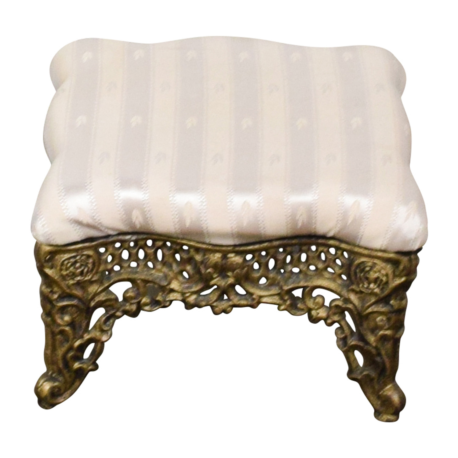 Horchow Horchow Beige Foot Stool with Gold Finish for sale
