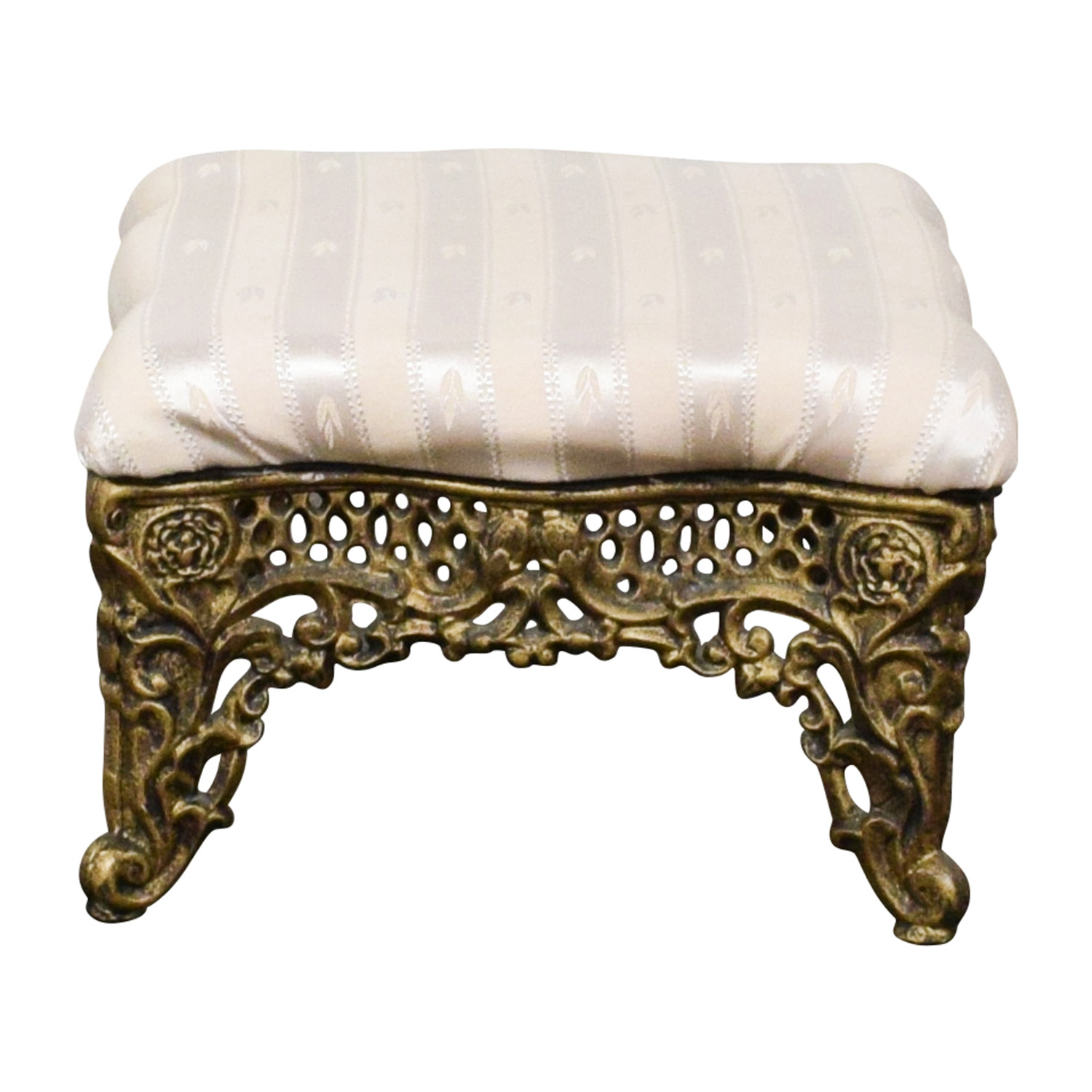 Horchow Horchow Beige Foot Stool with Gold Finish nyc