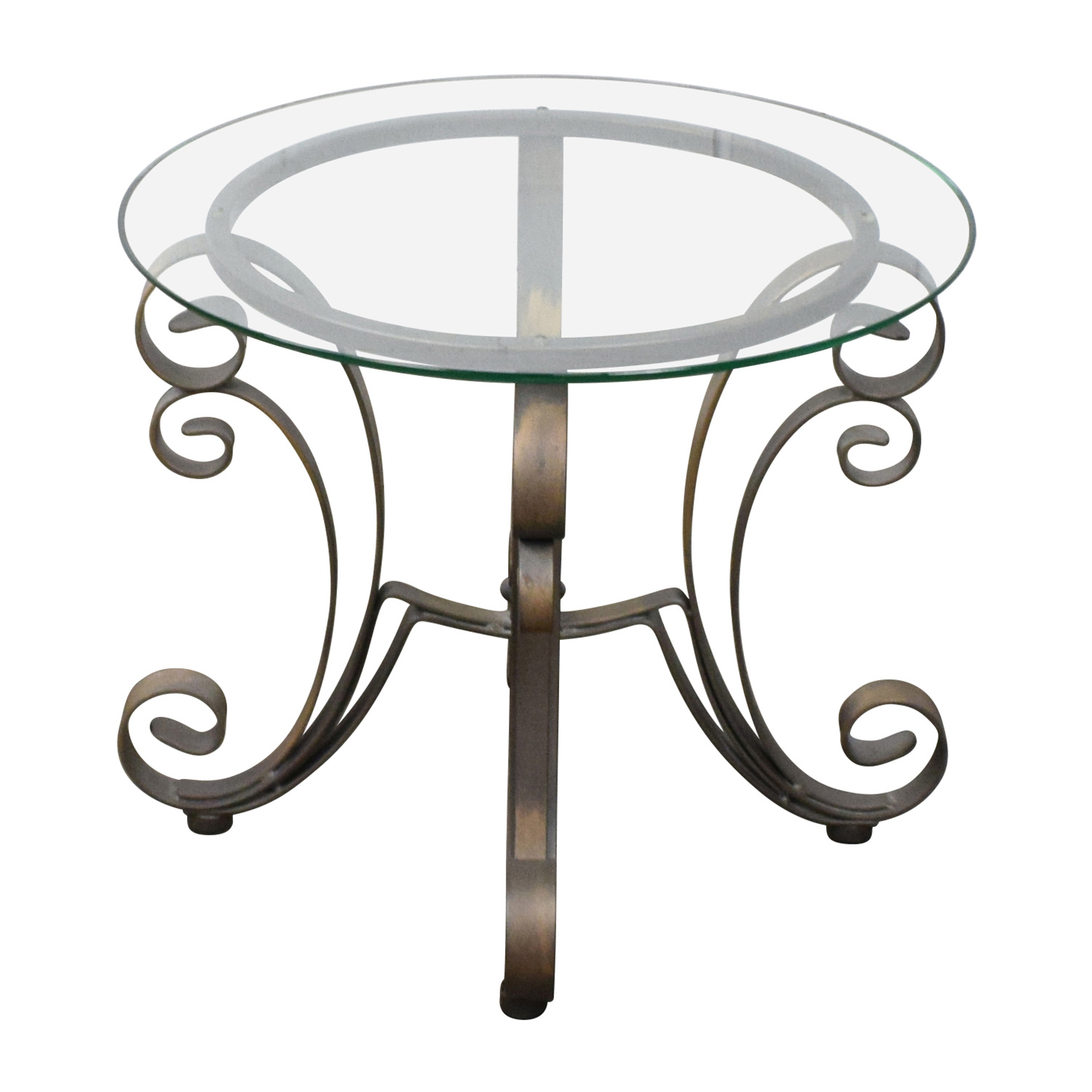 buy Rooms To Go Bronze Metal Base with Glass Top Side Table Rooms To Go End Tables