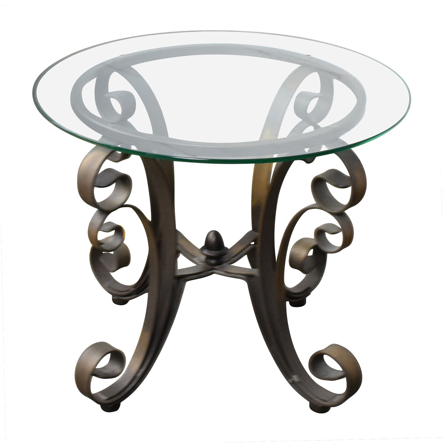 ... Rooms To Go Rooms To Go Bronze Metal Base With Glass Top Side Table  Tables ...