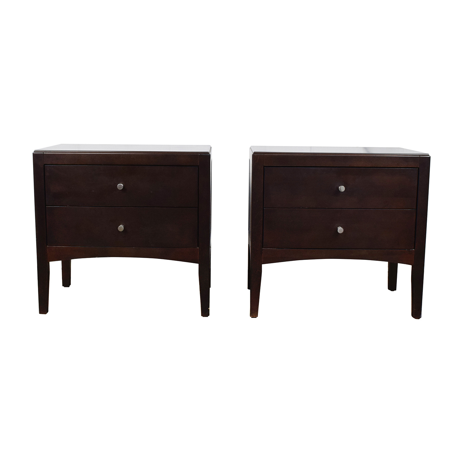 44 Off Macy S Macy S Dark Wood Two Drawer Nightstands Tables