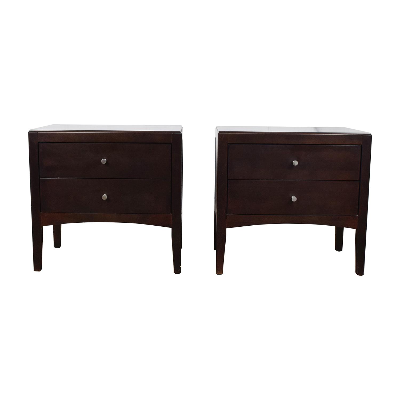 Macy's Dark Wood Two-Drawer Nightstands / End Tables