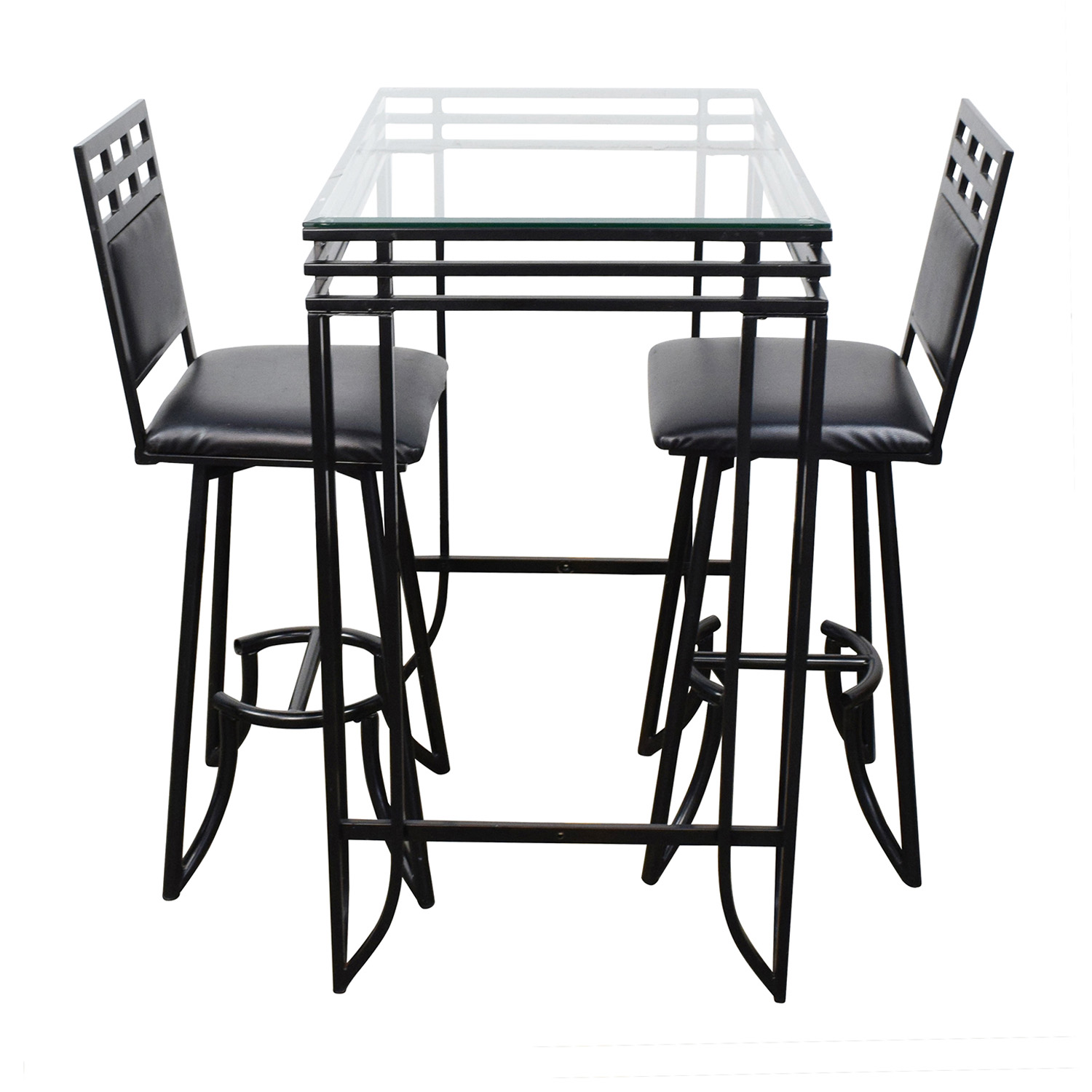 Counter High Glass Table with Two Chairs Dining Sets