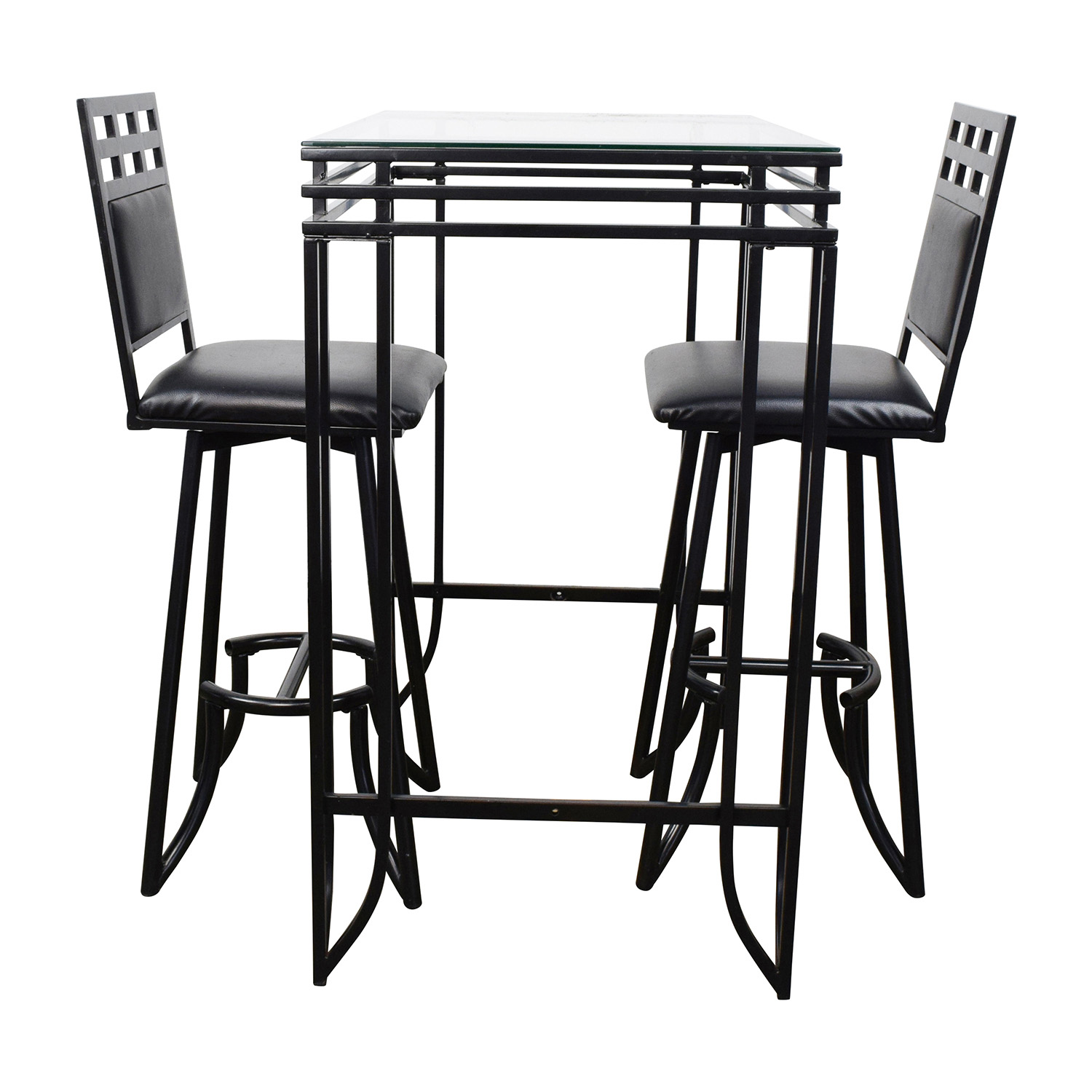 Counter High Glass Table with Two Chairs Black