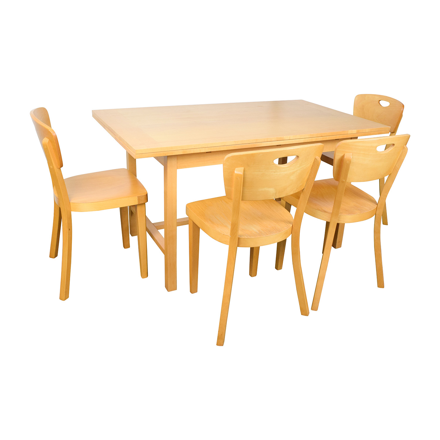 46% OFF - Macy\'s Macy\'s Wood Expandable Dining Table with Chairs ...