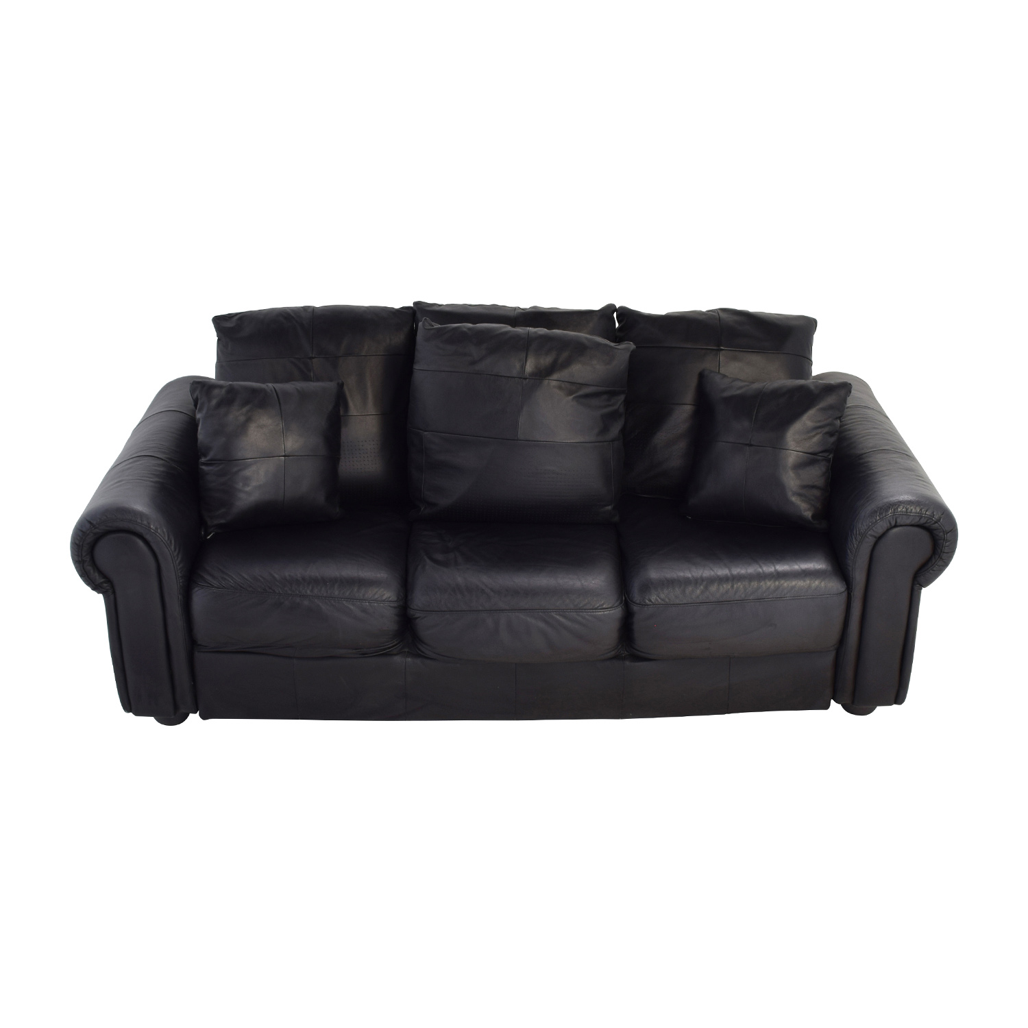 buy ABC Carpet & Home Black Leather Couch ABC Carpet and Home