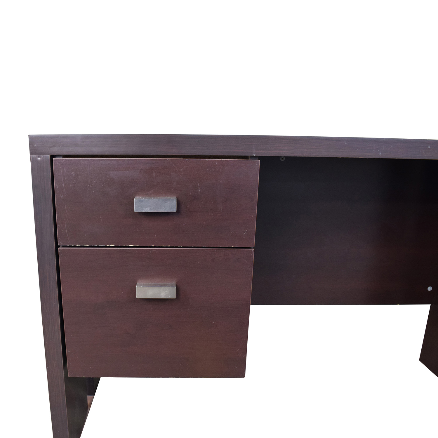 76 Off Walmart Walmart Brown Desk With Two Drawers Tables