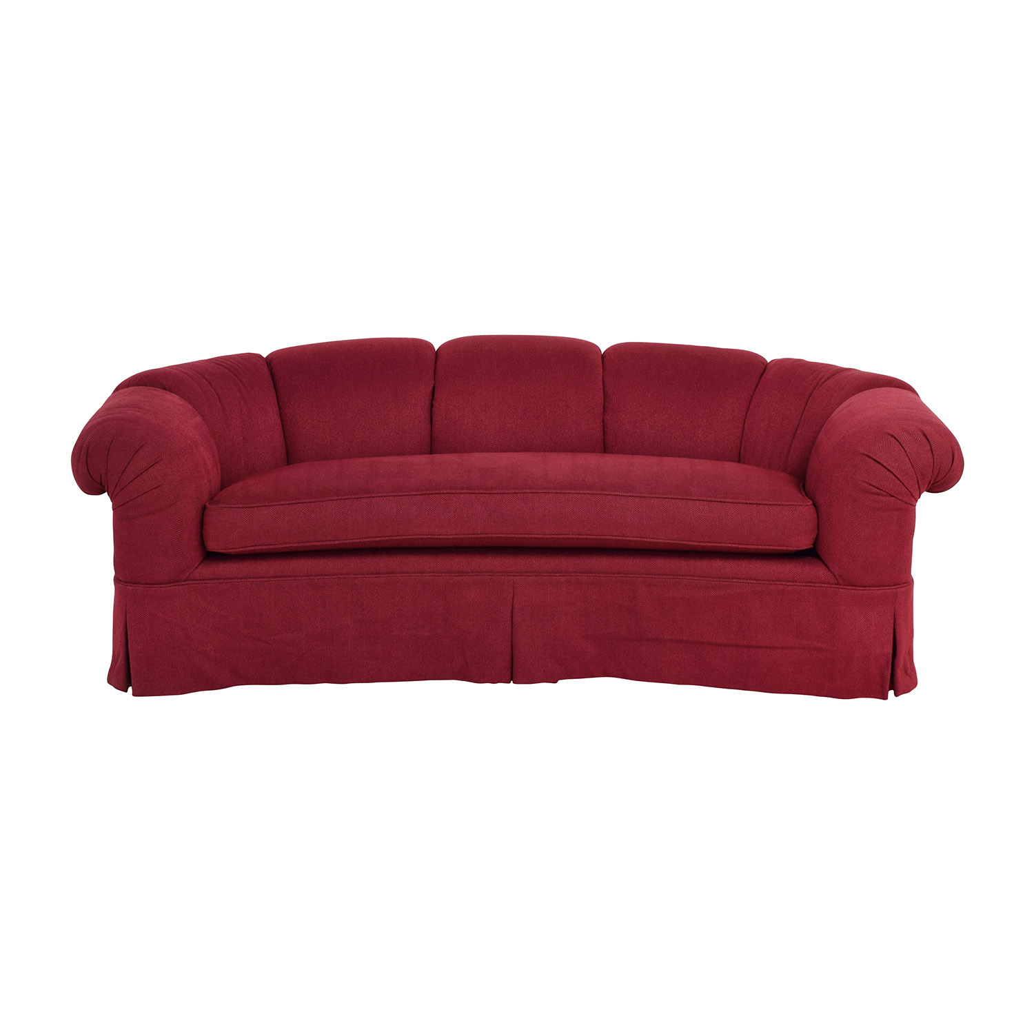 Baker Custom Burgundy Curved Couch / Classic Sofas