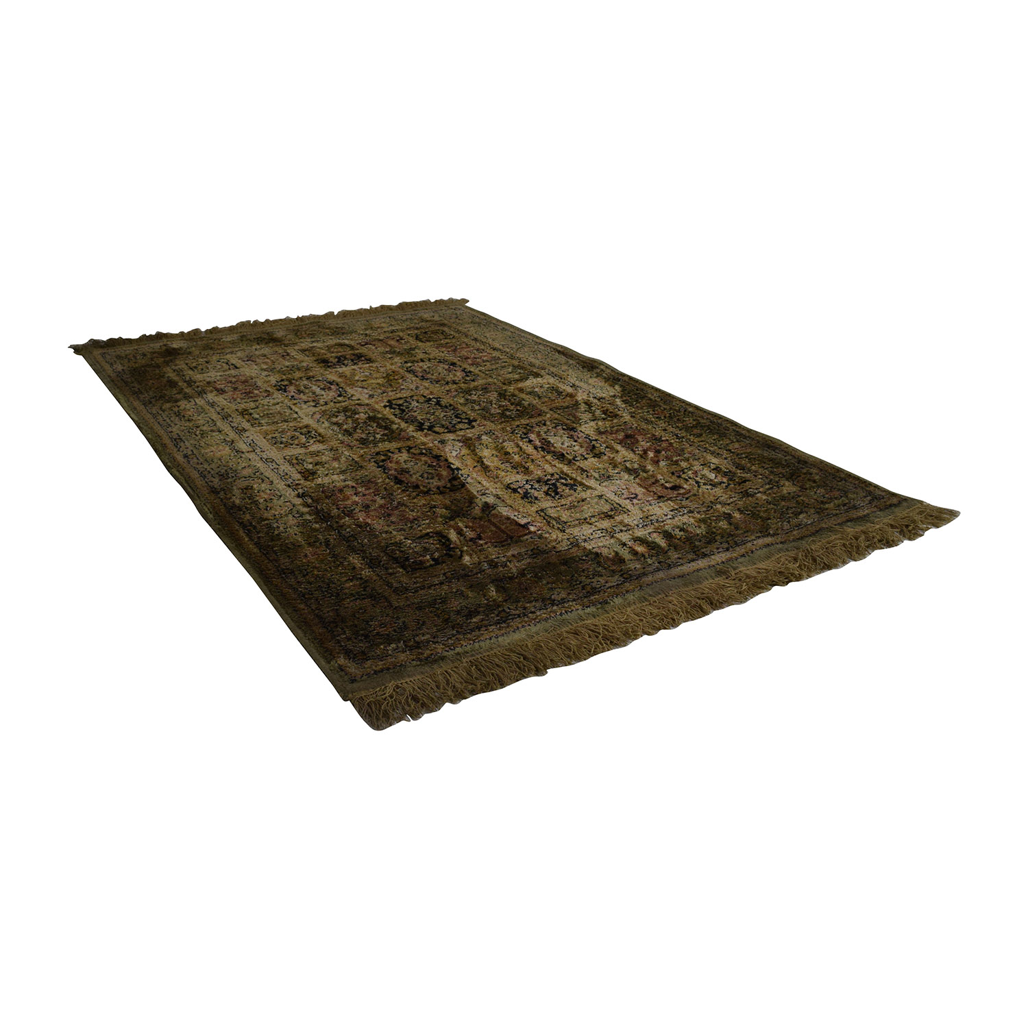 Green, Beige, Black And Red Rug on sale