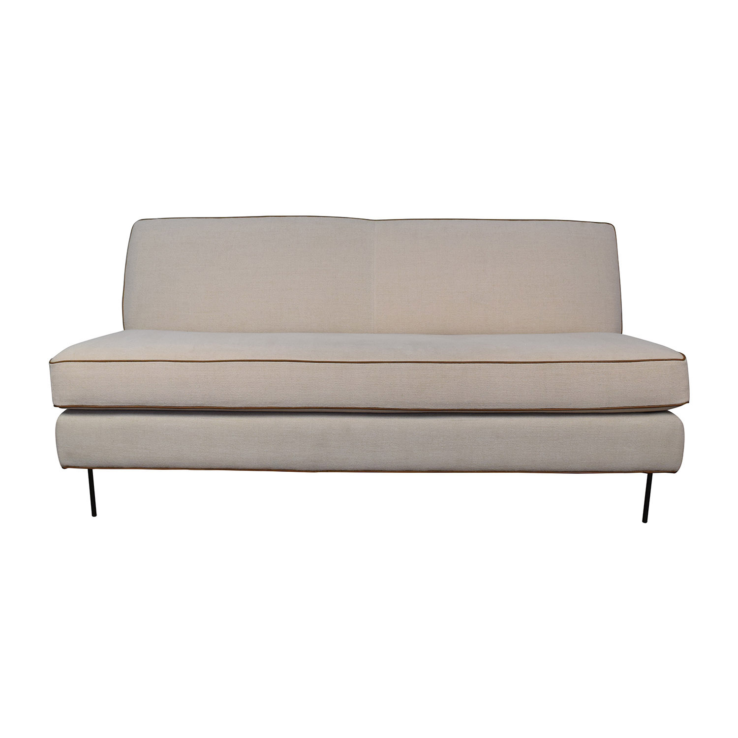 off  simmon li simmon li monarch dark brown sofa  sofas - west elm west elm commune armless sofa on sale