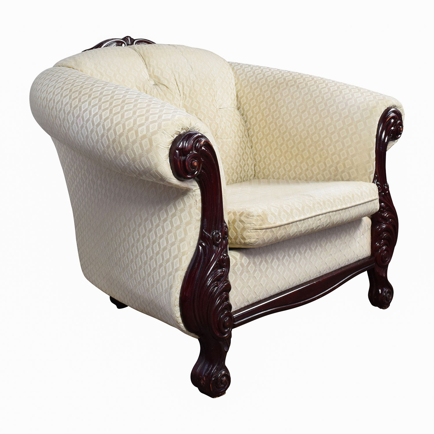 56% OFF - Mahogany Wood Beige Upholstered ArmChair / Chairs