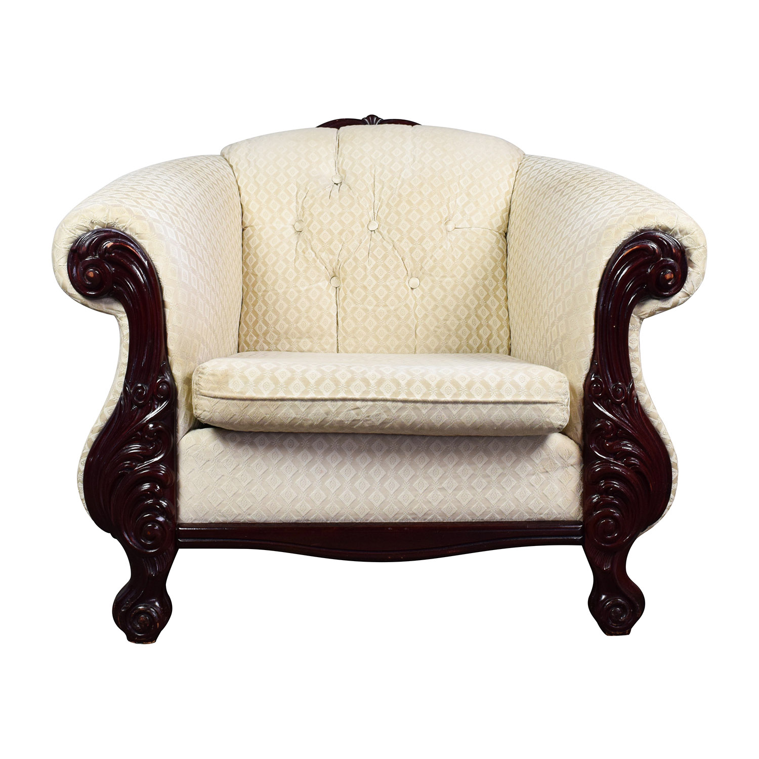 Buy Mahogany Wood Beige Upholstered ArmChair Online ...