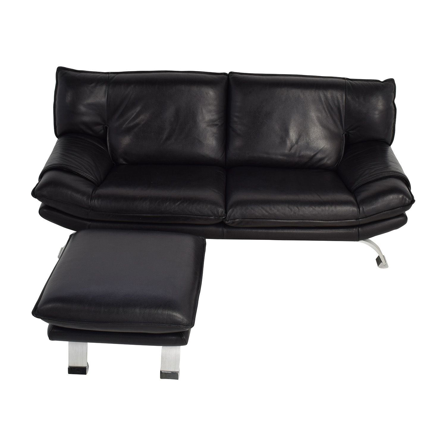 Nicolletti Nicolletti Black Leather Sofa and Ottoman dimensions