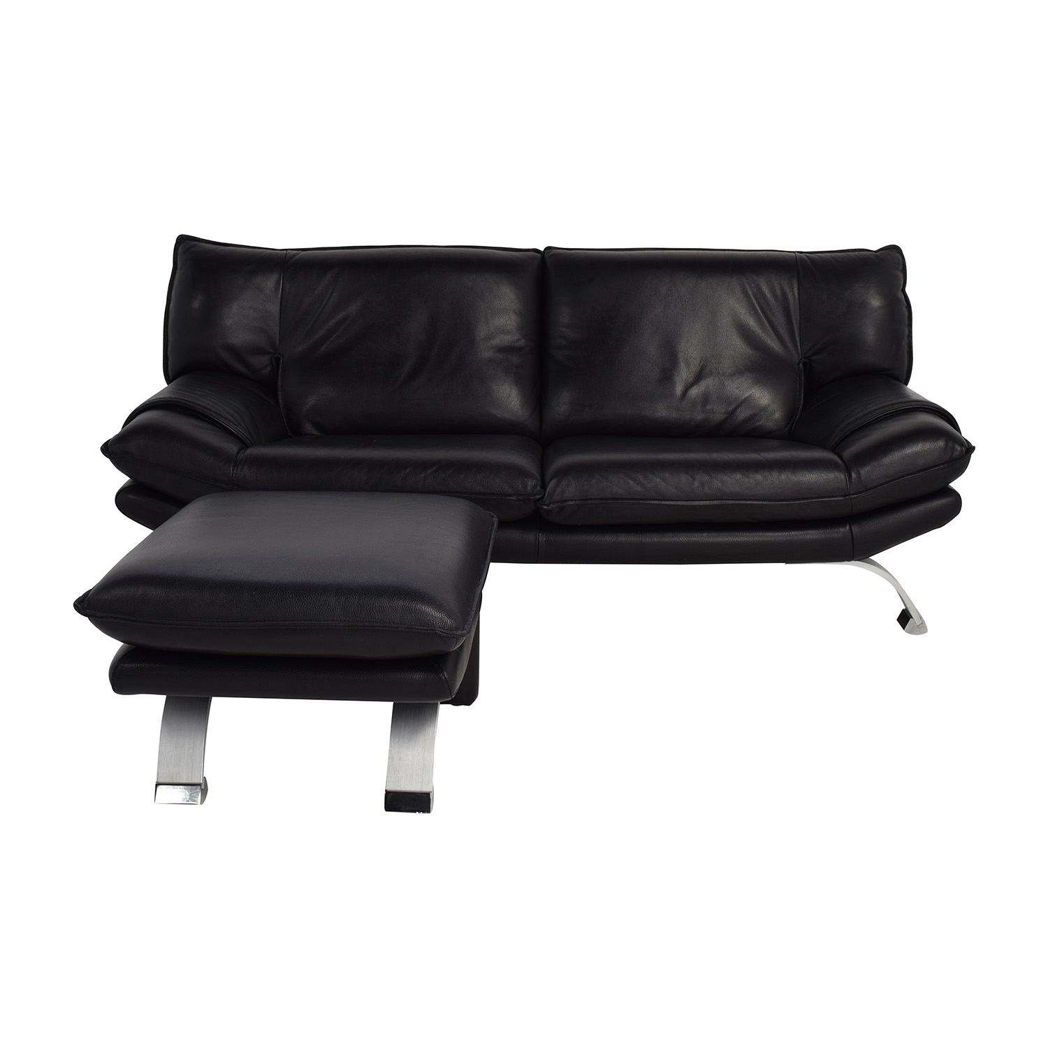 Nicolletti Nicolletti Black Leather Sofa and Ottoman for sale