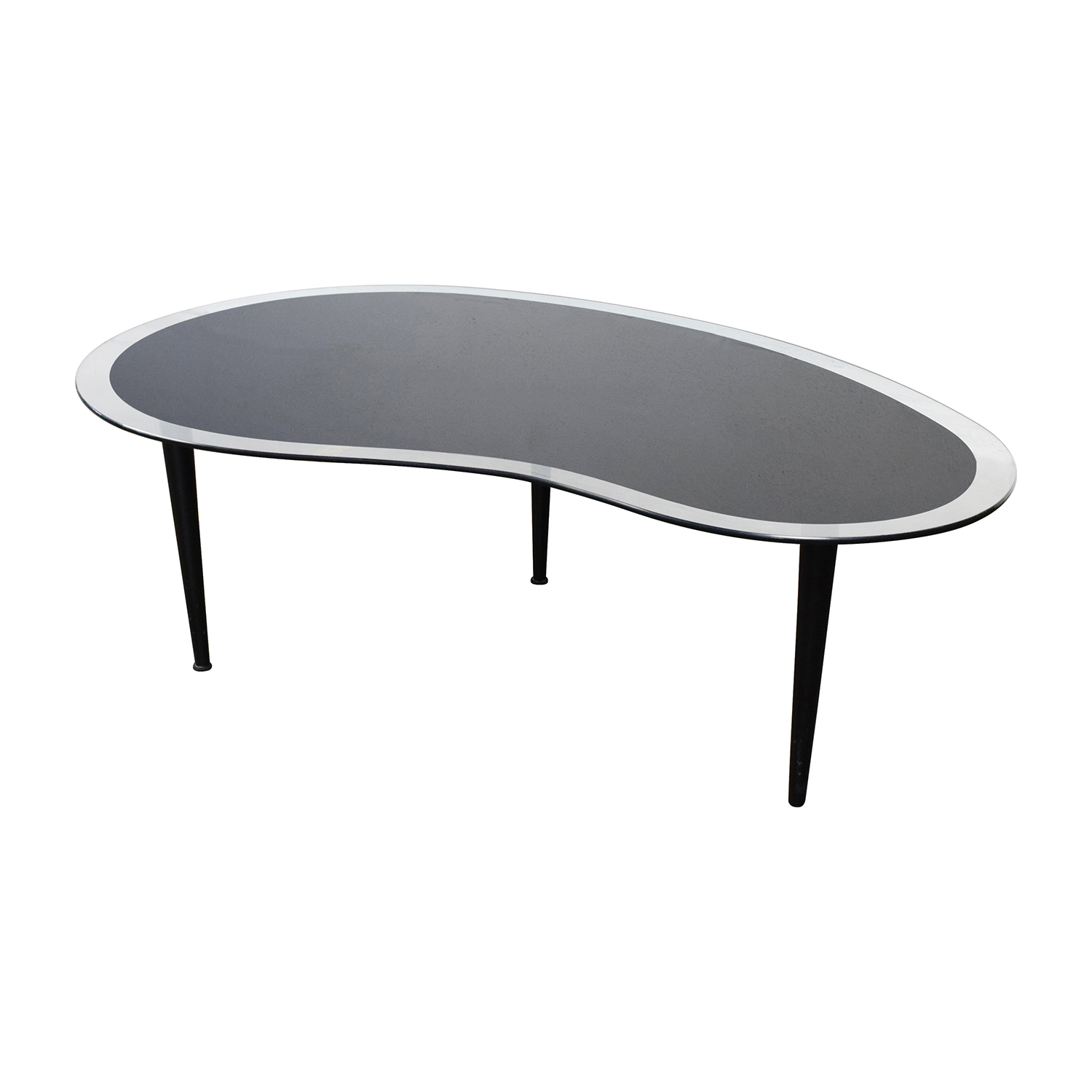 61 Off Bean Shaped Black And Clear Glass Coffee Table Tables
