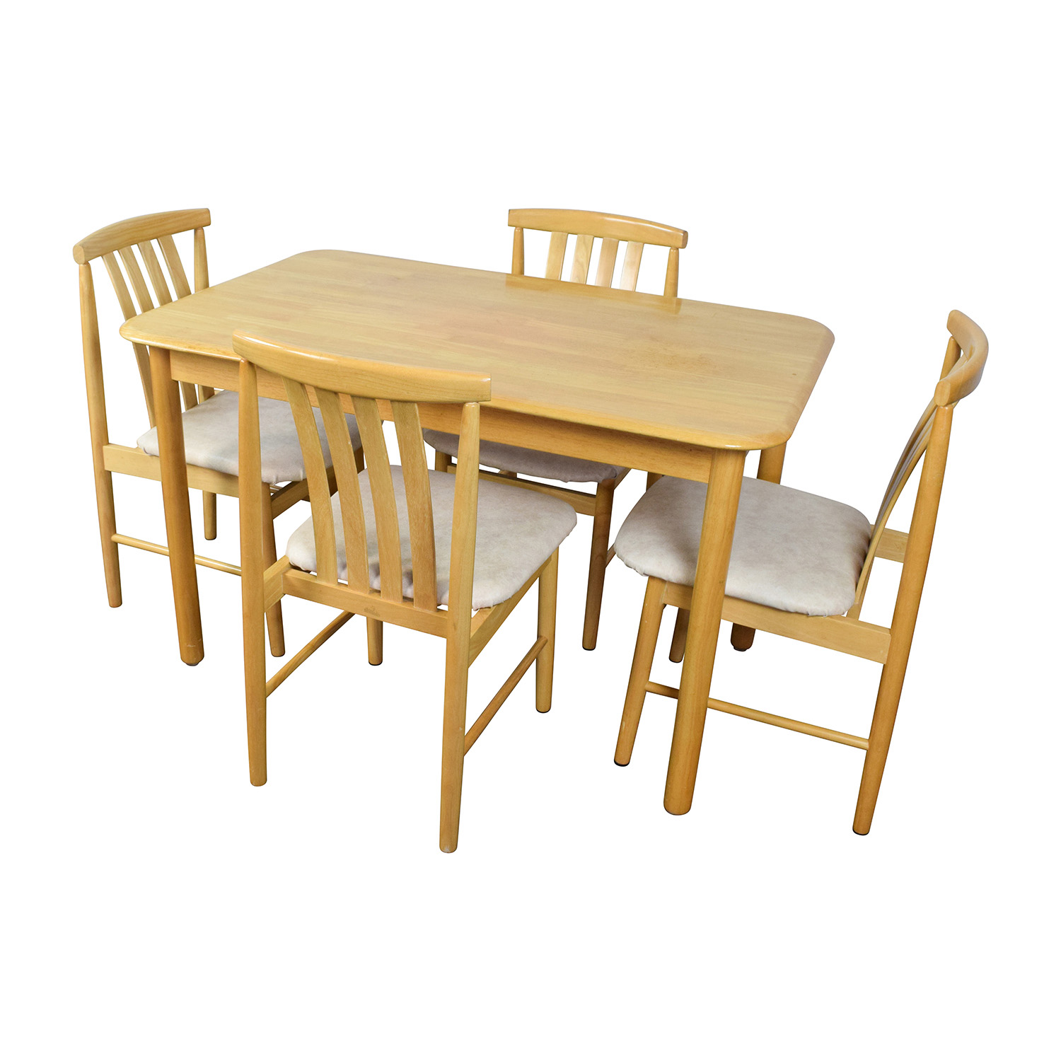 Light Wood Dining Table with Four Chairs