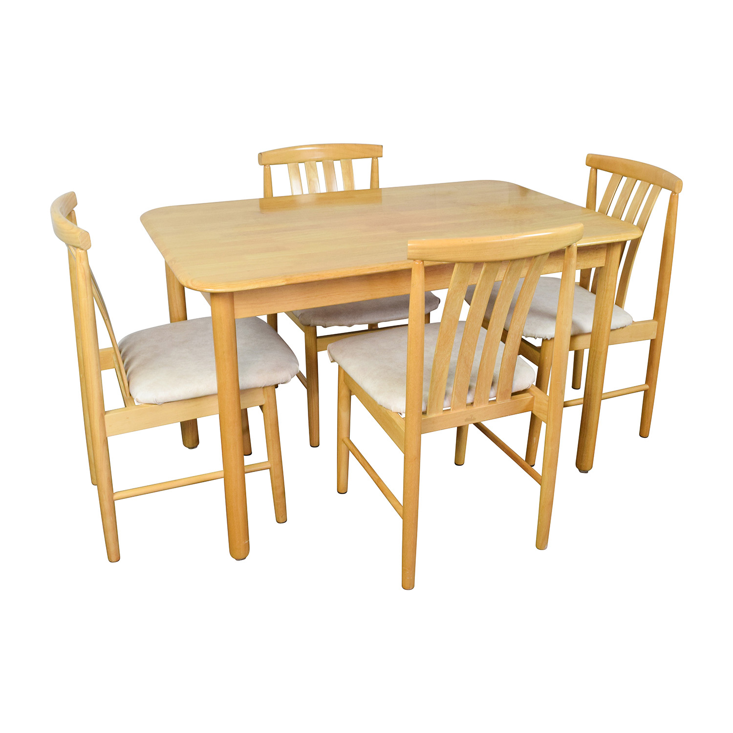 Light Wood Dining Table with Four Chairs Dining Sets