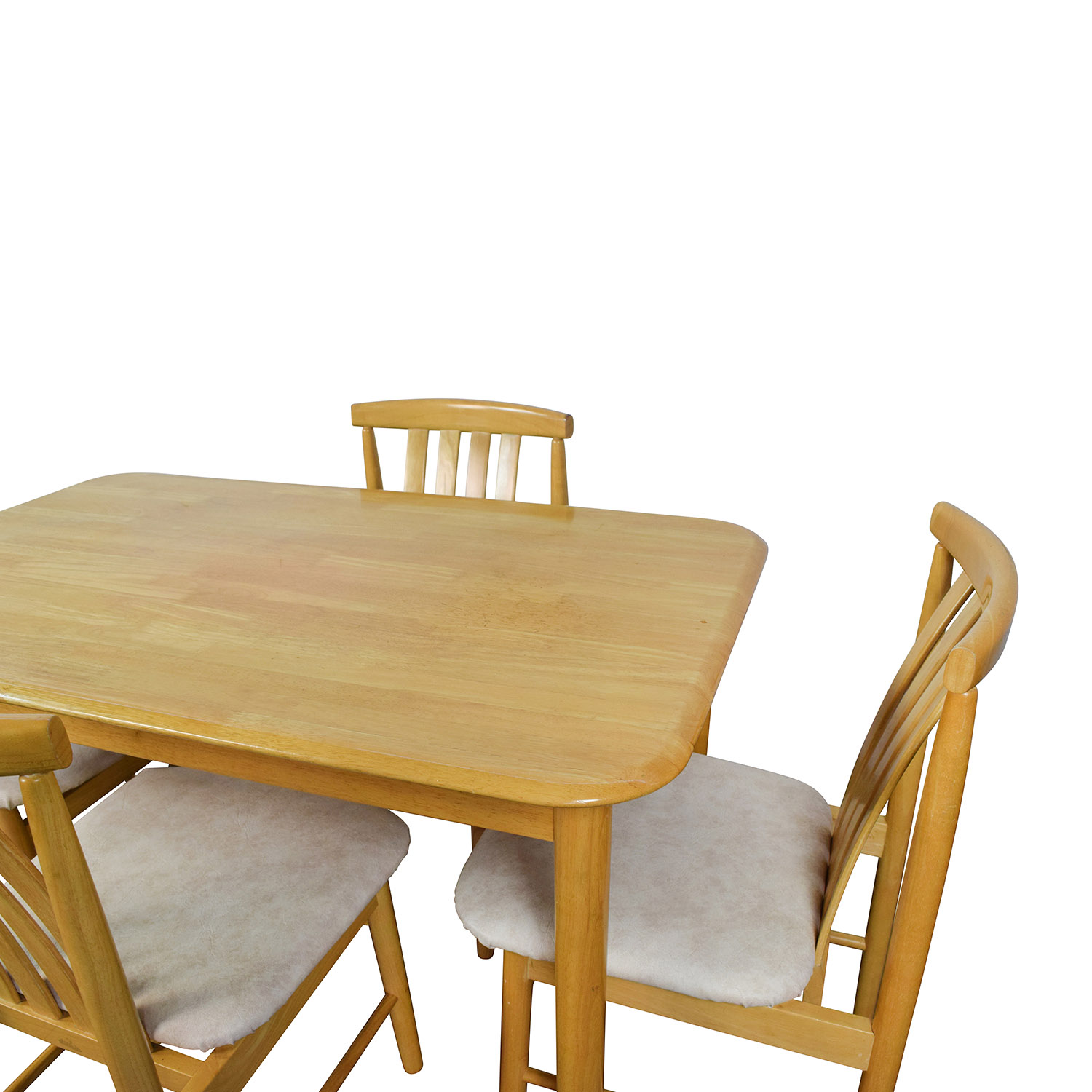 Light Wood Dining Table with Four Chairs discount