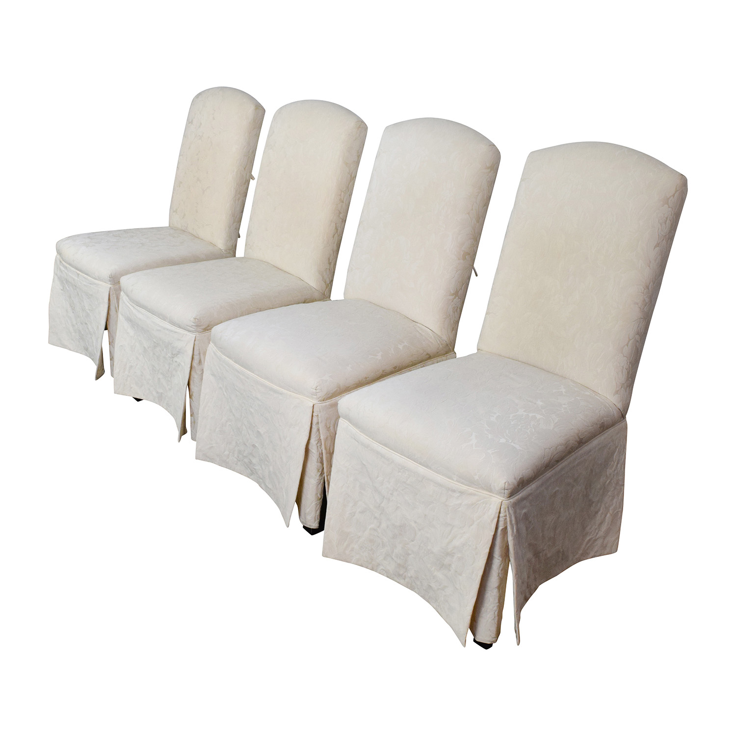 90 off thomasville thomasville ivory upholstered dining for Dining chairs with upholstered seats