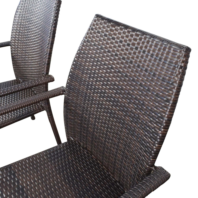 ... Dark Brown Wicker Outdoor Dining Chairs