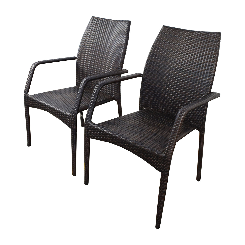 Off dark brown wicker outdoor dining chairs