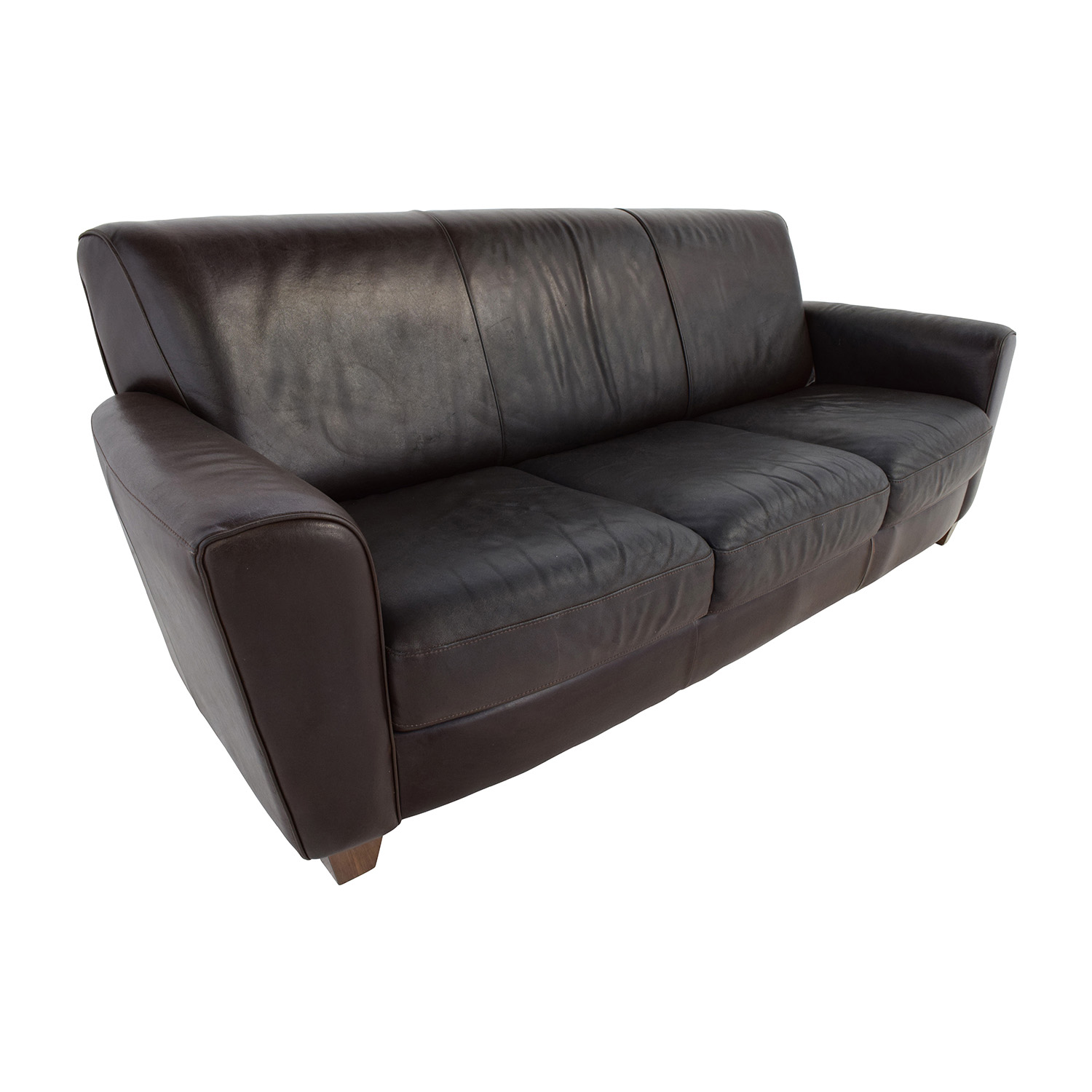Second Hand Leather Sofas Gosport: Brown Leather Three Cushion Sofa / Sofas