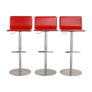shop Trabaldo  Trabaldo Italian Red Leather Adjustable Bar Stools online