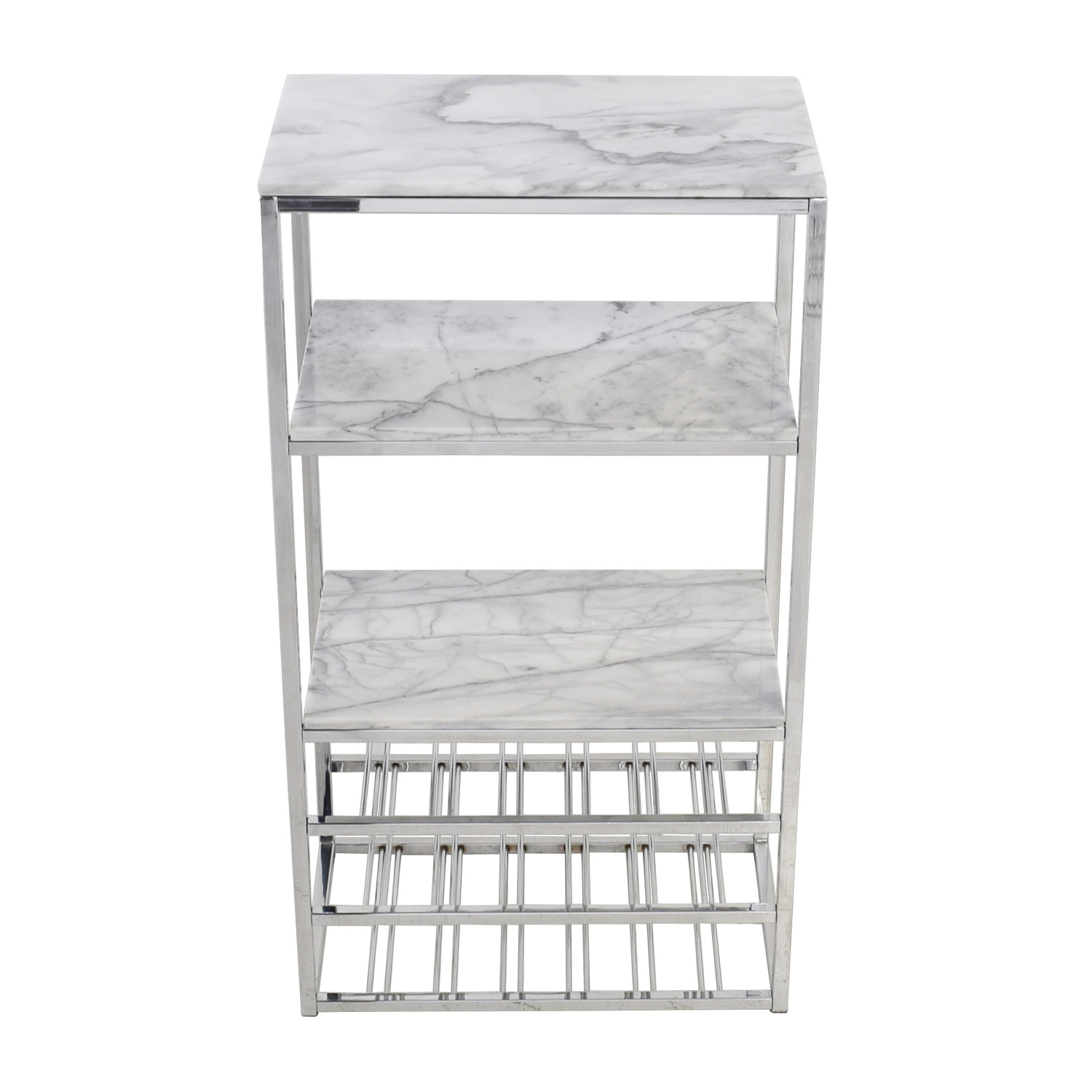 Crate and Barrel Crate & Barrel Marble and Silver Chrome Wine Rack second hand