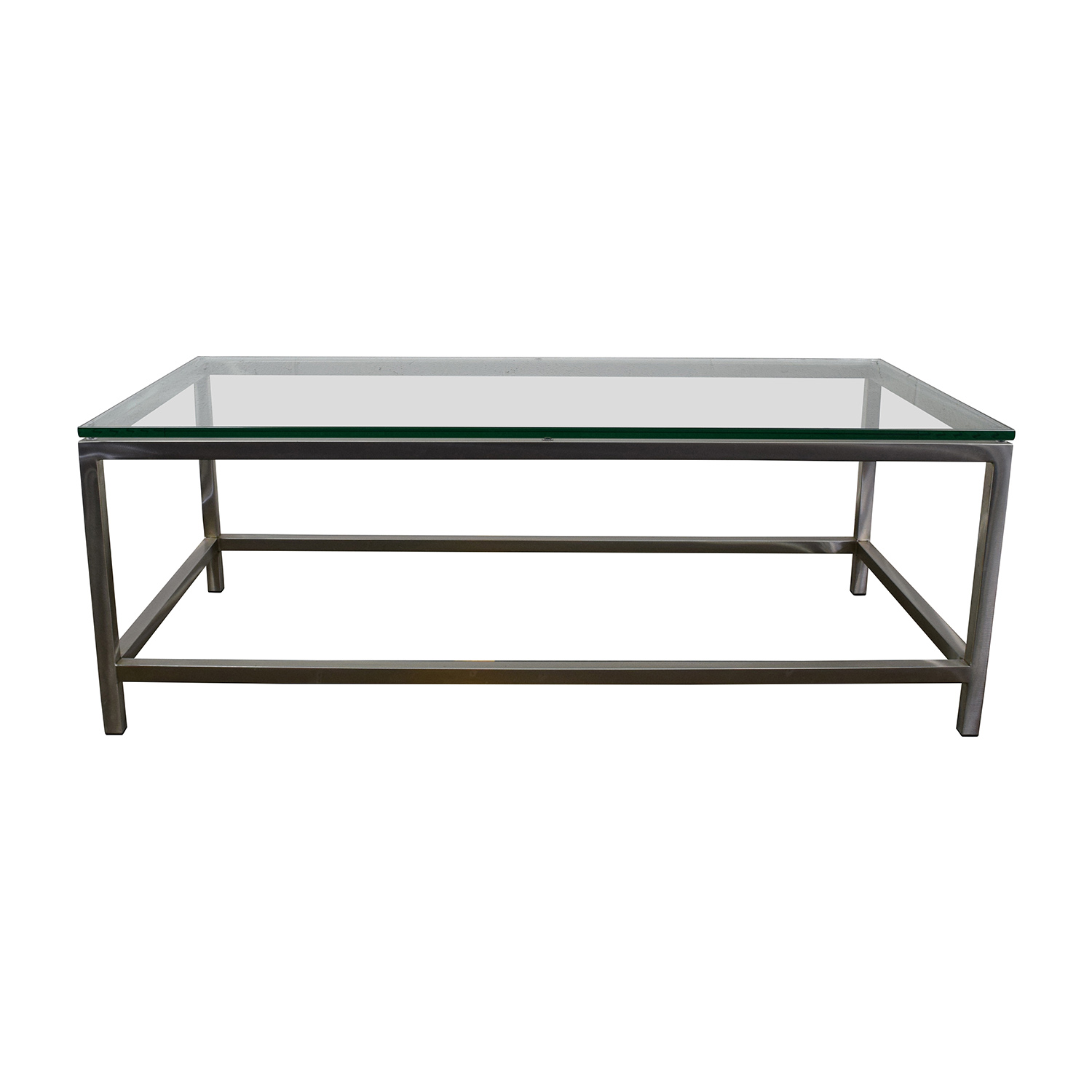 OFF Glass Top with Wood Base Coffee Table Tables